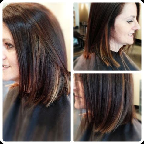 paneling haircut pictures chocolate brown bob haircut with contrasting blond