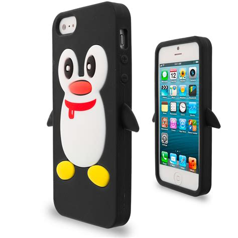 Rubber Cover Iphone 5sse penguin silicone color rubber skin cover for