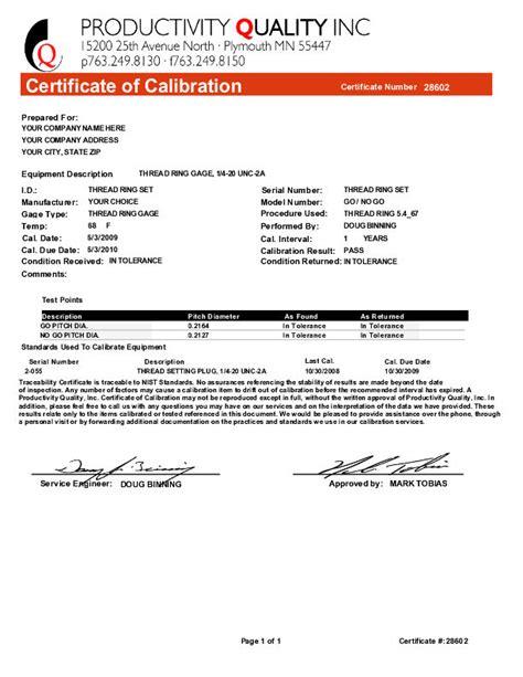 pressure gauge calibration certificate sle image