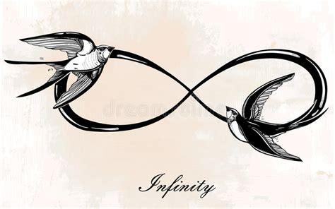 symbole d infini avec l illustration d hirondelle