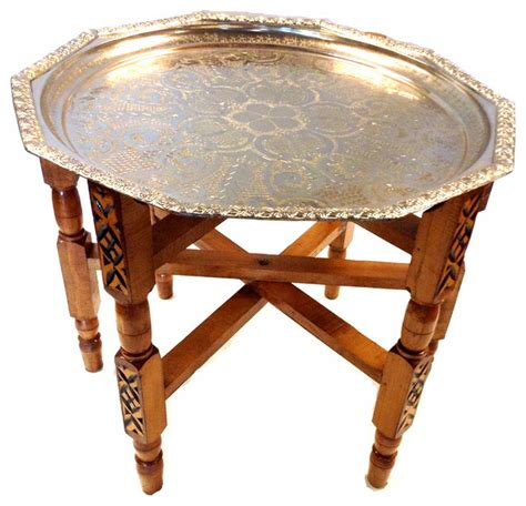 moroccan tea table consigned moroccan tea folding table decagonal silverplated brass tray top mediterranean