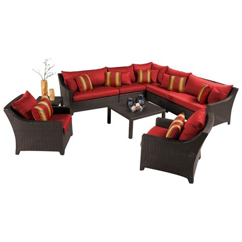 Shop Rst Brands Deco 9 Espresso Composite Material Rst Brands Deco 9 Patio Sectional Seating Set With