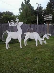 outdoor white reindeer christmas wood yard art lawn decoration