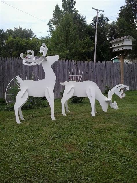 reindeer sleigh lawn decorations for christmas outdoor white reindeer wood yard lawn decoration