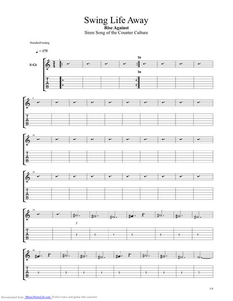 swing away tabs swing away guitar pro tab by rise against