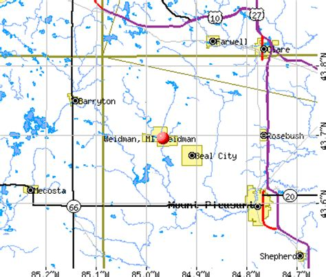 Search Census Records By Address Map Of Weidman Michigan Michigan Map