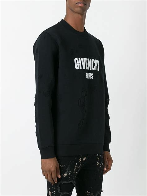 Hoodie Sweater Mackie Combo Black Front Logo givenchy logo distressed cotton sweatshirt in black for lyst