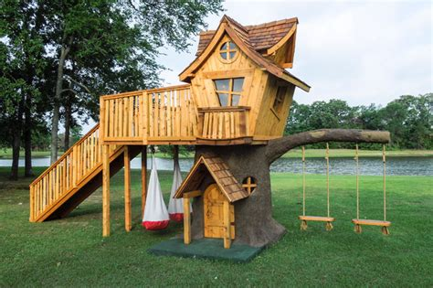 backyard kids playsets bungalow style tree house eclectic landscape dallas by the 4 kids inc