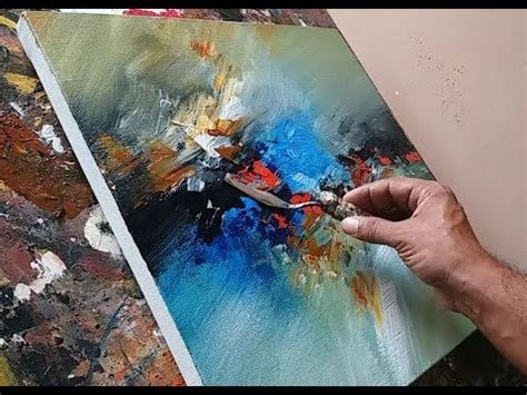acrylic painting using palette knife abstract painting using plastic wrap cloth and palette