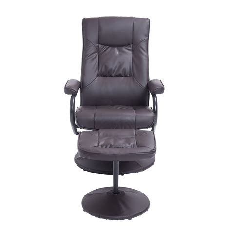 recliner and ottoman set homcom leather recliner and ottoman set brown home