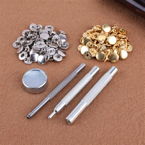 Set Perlengkapan Jahit Poppers Leather Craft With Fixings Tools Kit 10mm x30 matte press studs kit snap popper fastener sewing leather buttons sets ebay