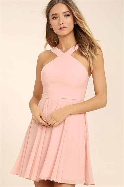 Dress Sabrina Emina Fit Xl lovely light pink dress halter dress skater dress