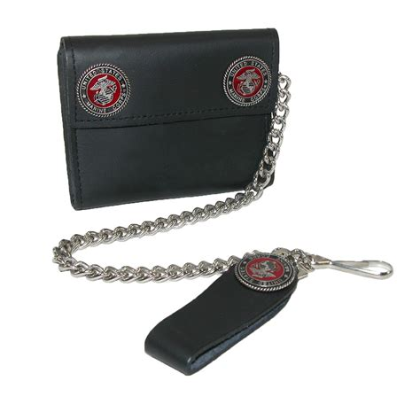 mens leather chain wallet with marine decals by ctm mens