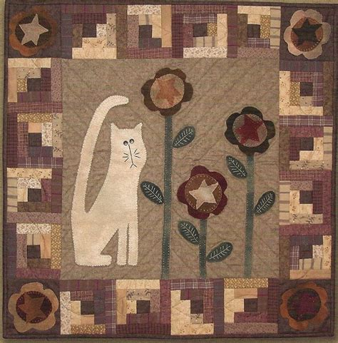 cat applique pattern wall hanging primitive folk art quilt and wool applique pattern cat in