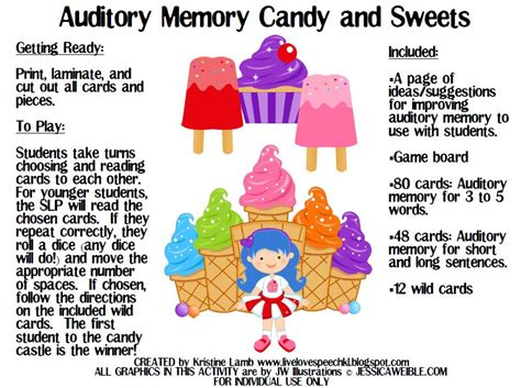 Auditory Memory Activities Worksheets by Live Speech Auditory Memory And