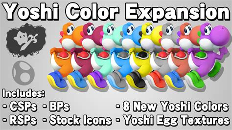 yoshi colors yoshi color expansion smash bros for wii u skin mods