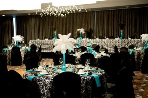 black white teal damask wedding   Wedding ideas   Damask