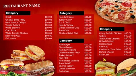 food menu fast food menu food ideas