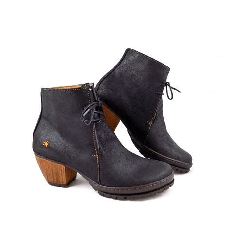 company oslo 0529 wooden heel ankle boots in black