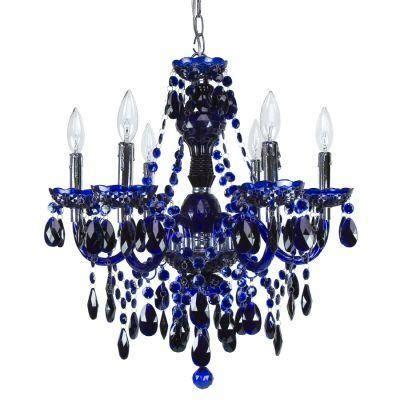 Cobalt Blue Chandelier Lighting Concerto 6 Light Cobalt Blue Chandelier Discontinued 708 6 Bl The Home Depot