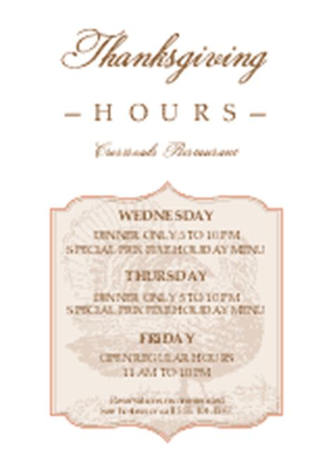 Thanksgiving Hours Flyer Thanksgiving Flyer Thanksgiving Business Hours Template
