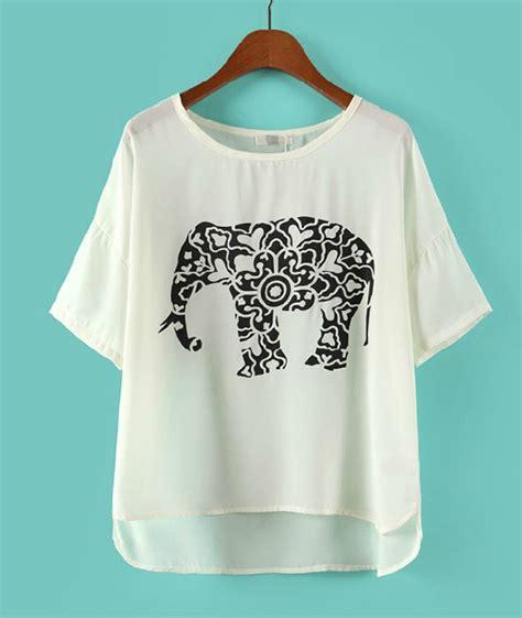 pattern chiffon shirt elephant irregular pattern chiffon t shirt afajdc on luulla