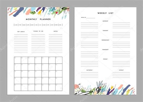 monthly planner  weekly list templates stock vector