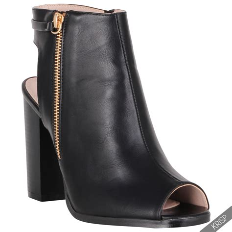 high heel open toe boots womens fashion cut open peep toe shoes block high heel