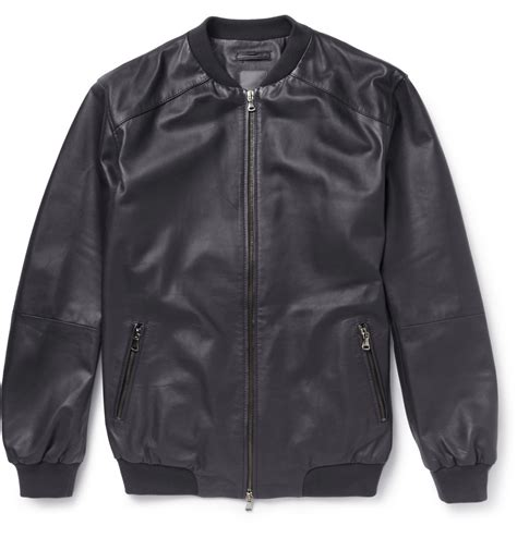 lyst lot78 leather bomber jacket in black for