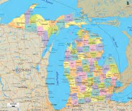 county map with cities and roads detailed clear large map of michigan ezilon maps