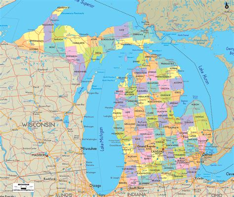 mi map political map of michigan ezilon maps