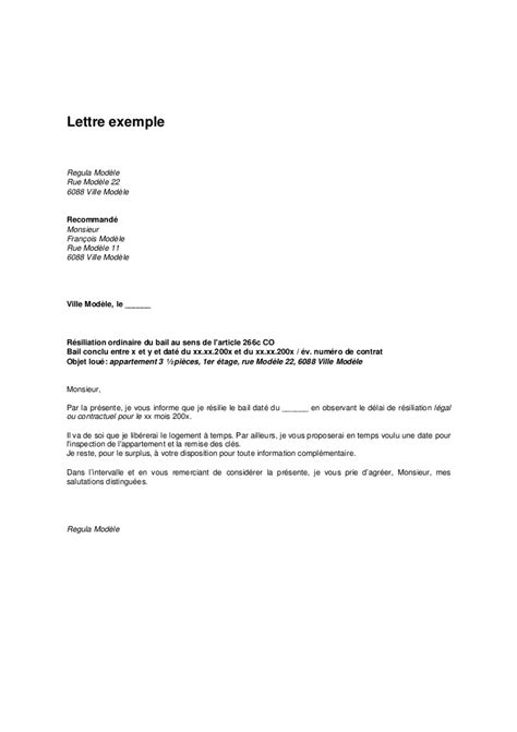 Free Exemple De Lettre De Resiliation Exemple Lettre Resiliation De Bail Document