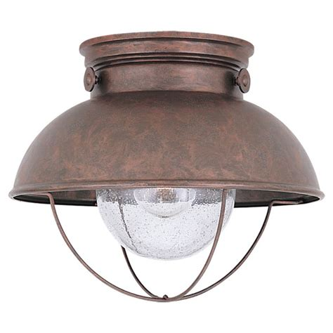 Light Fixtures Ceiling Mount Sea Gull Lighting 8869 44 Weathered Copper Sebring 1 Light Outdoor Flush Mount Ceiling Fixture