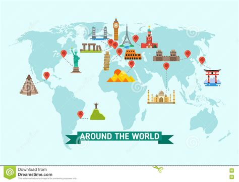 map world mouments travel landmarks on world map vector illustration stock