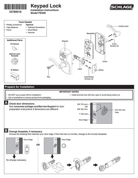 Schlage Door Knob Manual by Schlage Fe595 Installation User Manual 8 Pages