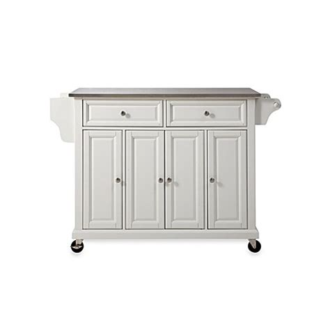 crosley rolling kitchen cart island with stainless steel top bed bath beyond
