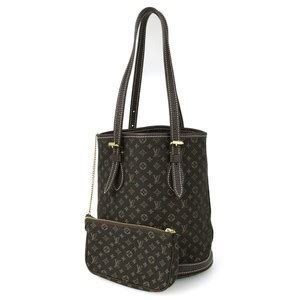 louis vuitton monogram mini lin bucket pm black tote bag