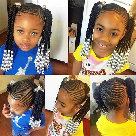 hairstyles plaited children braids ponytails beads cornrows girl s hair
