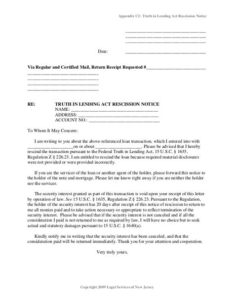 Mortgage Rescission Letter Foreclosure