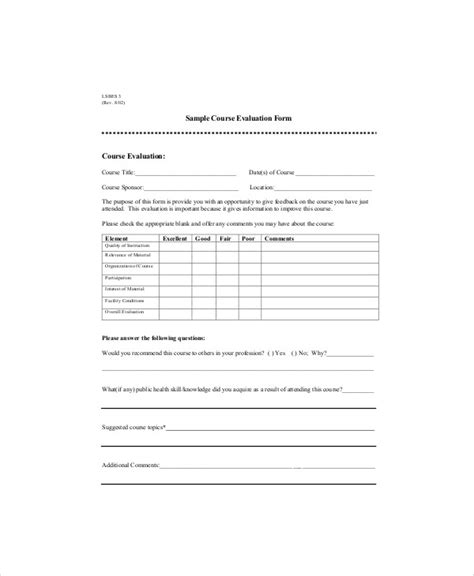 9 Sle Course Evaluation Forms Sle Templates Lecture Evaluation Form Template