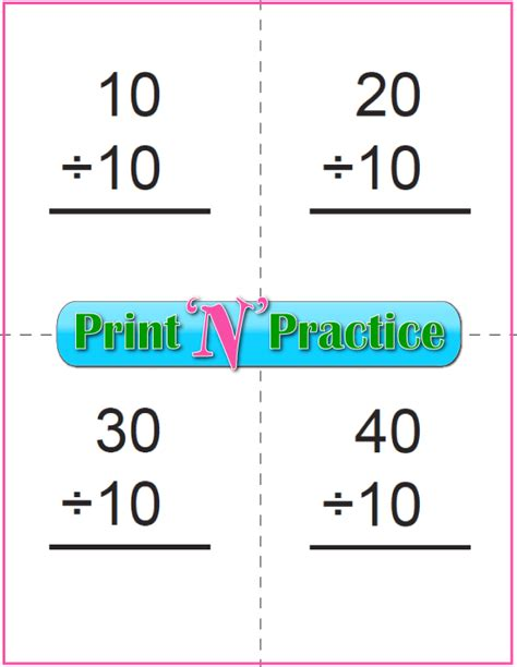 printable flash cards division third grade division worksheets customize and print