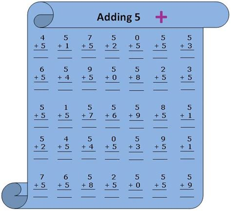 5 add ons worksheet on adding 5 practice numerous questions on 5