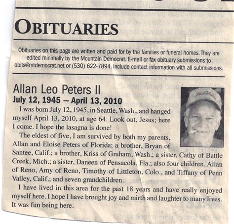 obituaries exles templates 9 best images of newspaper obituary template exles
