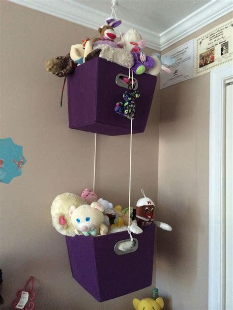 stuffed animals hang baskets  ceiling