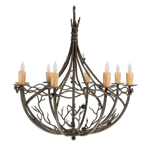 Wrought Iron Pine Collection Chandelier 8 Arm W Drip Candle Covers For Chandeliers