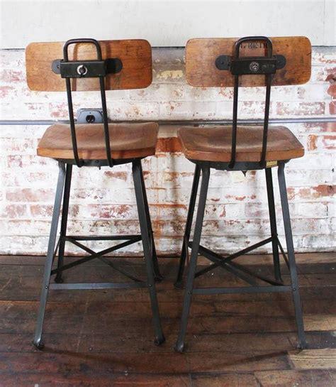 vintage wood and metal bar stools pair of vintage industrial wood and metal bar stools for