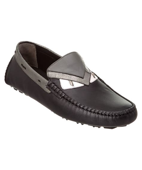 fendi loafers mens fendi bug leather loafer in black for lyst