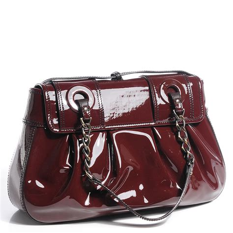 Fendi Vernice Matrix B Bag by Fendi Vernice Patent B Bag Marrone Brown 84029