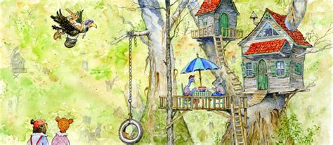 Painting Of A Treehouse Tree House With A Tire Swing