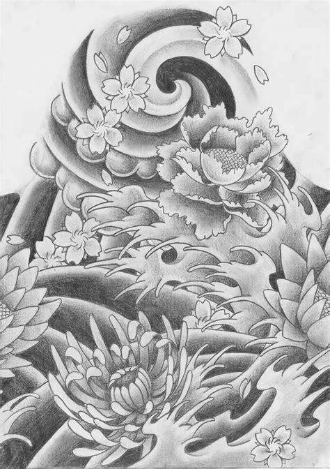Toner Blueprint black ink japanese flower design